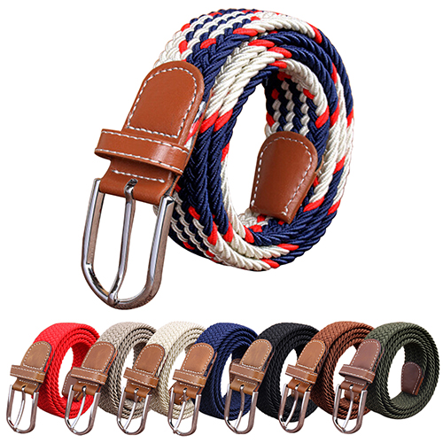 Hot Selling  Men's Women's Canvas Plain Webbing Metal Buckle Woven Stretch Waist Belt Strap