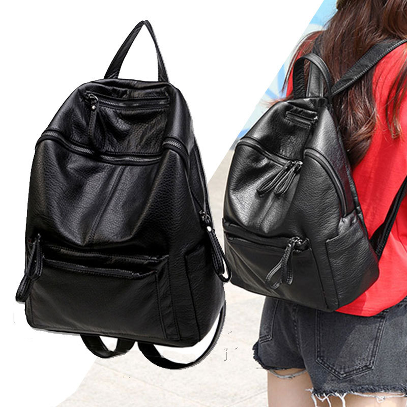 New Korean version of Gentle Genuine Leather shoulder bag fashion casual anti-theft college style vertical square backpack korean version of the first layer of leather vertical section square shoulder messenger bag in the bag fashion casual tassel lea