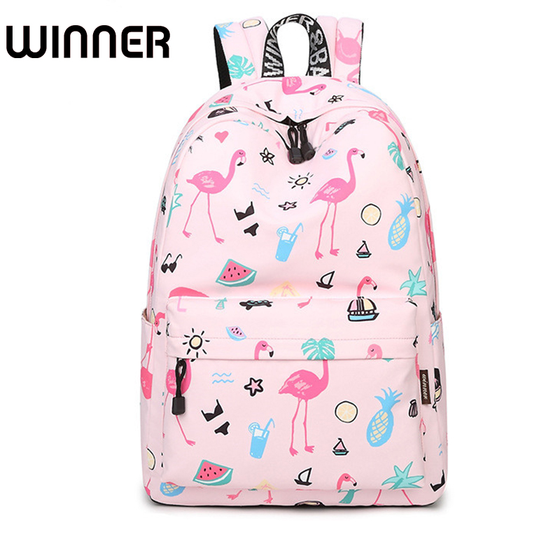 Fashion Women Bagpack Cute Pink Flamingo Animal Printing School Backpack for Teenage Girls Waterproof Knapsack Mochila fashion 15 6 inch waterproof fabric women backpack pink cute sushi cuisine pattern printing large capacity girls bookbags