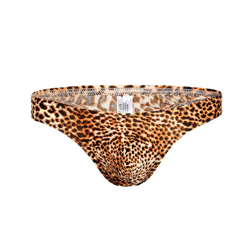 black g string with strappy detail and animal print pouch for men