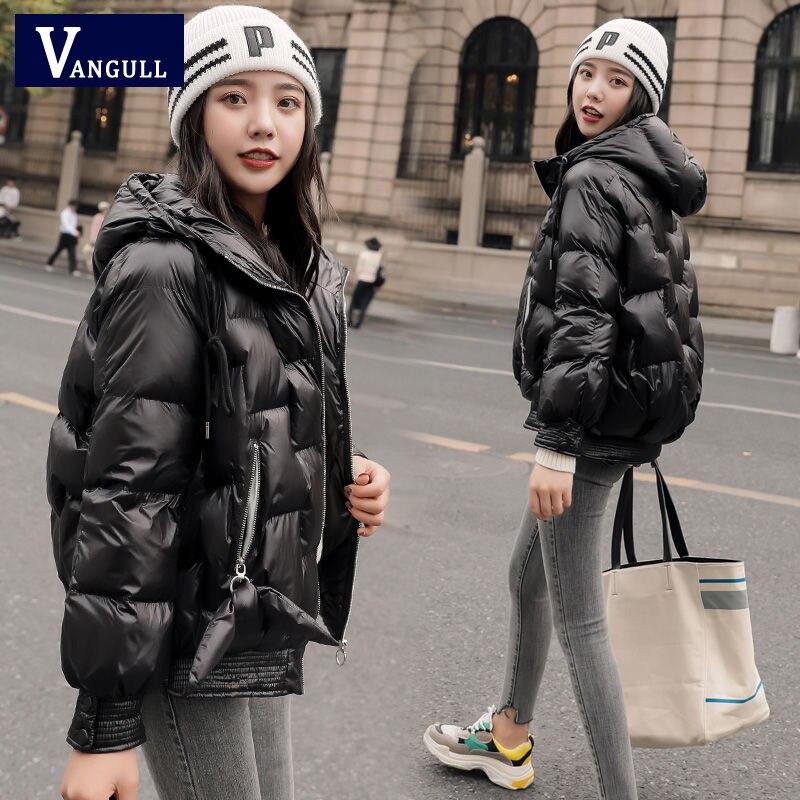 VANGULL, зимняя Глянцевая пуховая парка, женские куртки больших размеров, зимняя теплая Толстая парка, Свободное пальто, зимняя женская куртка, верхняя одежда