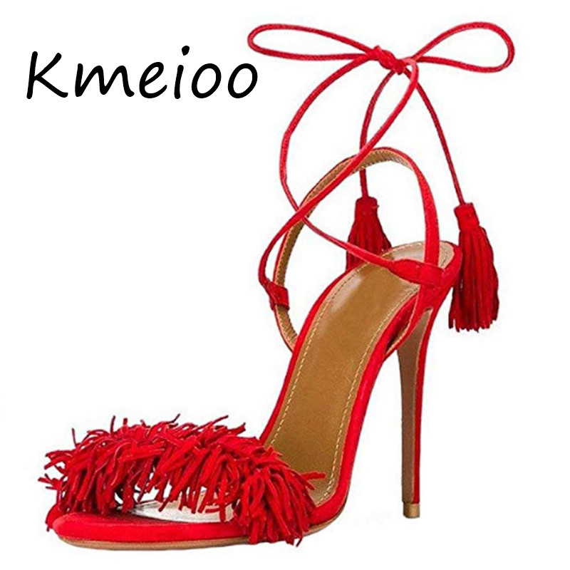 Kmeioo US Size 5 15 Summer Women Shoes Fringe Sandals Tassels High Heels Open Toe Backless Stilettos Suede Lace up Party Shoes