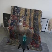 Decoración del hogar, fundas de sofá de alce para muebles de animales para sala de estar, toalla de sofá clásico para sillón, mantas de tela tejida