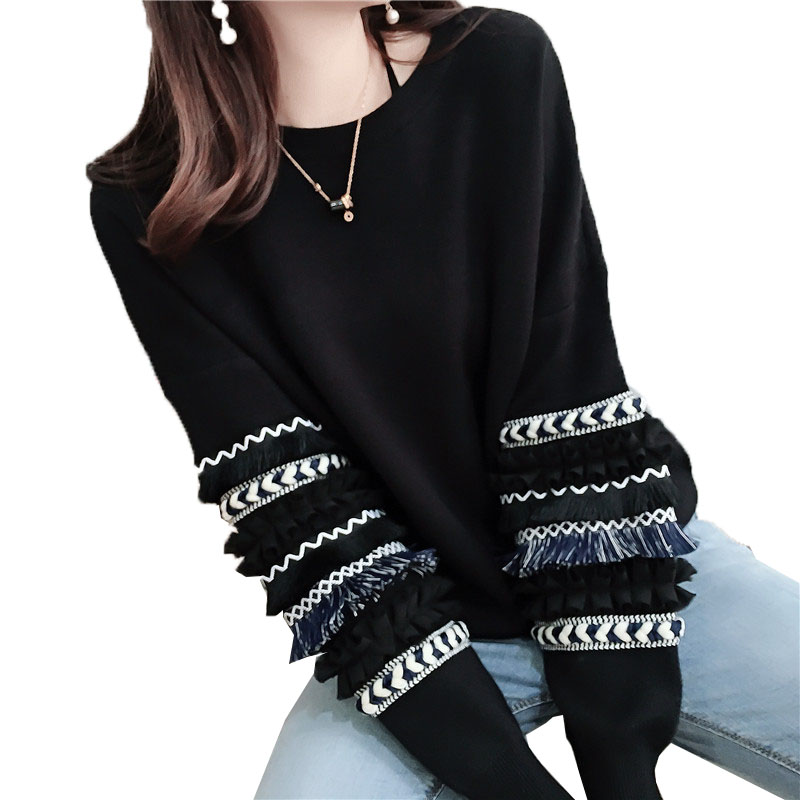 Knitted Top Round-Neck Lantern-Sleeves Warm Pullover Women's Sweater Loose Autumn Winter