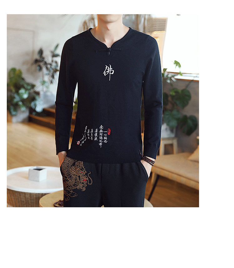 Chinese style Buddha embroidery Pull Homme Pullover Men spring autumn Casual sweater knit leisure Jersey Hombre Cotton v-neck 62