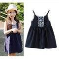 От 3 до 14 лет детей и подростков девушки 2017 лето чешского стиль рукавов повседневная пляж платье дети мода платья одежда