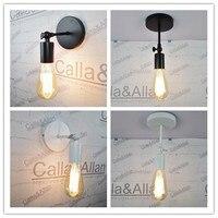 White Black DIY Wall Lamp Fixture E27 Plate Loft American Retro Vintage Iron Ceiling Light 40W