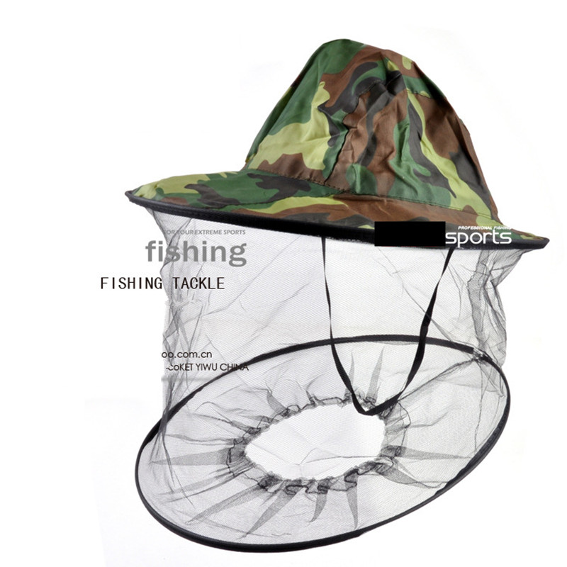 New Camouflage Anti Mosquito Cap Pesca Con Net Mesh Head Cover Fisherman Kit di riparazione Apicoltura Camping Mask Face Protect FO29