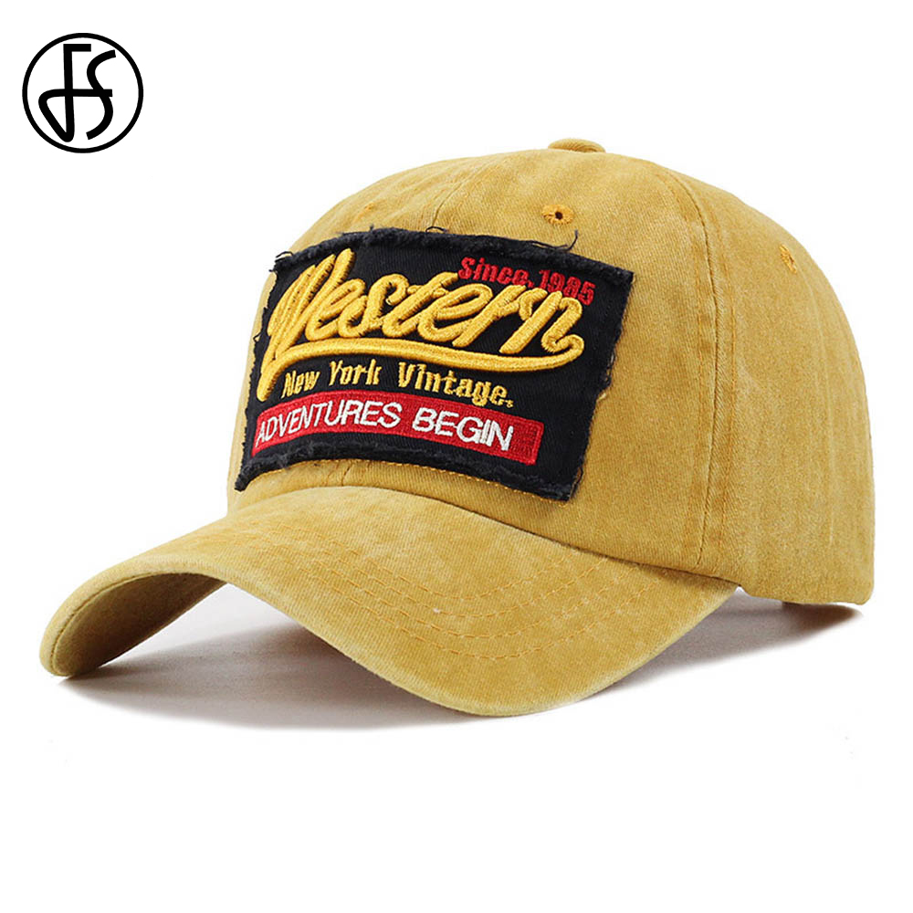 FS Summer   Cap   Outdoor Letter Embroidery Vintage   Baseball     Cap   For Men Women Trucker Hat Cotton Bone Hats Red Yellow Sport Gorras