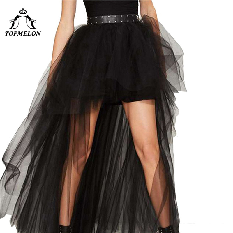 Image 2 - TOPMELON Women's Punk Skirt Female Gothic Tulle Skirt Summer Steampunk Long Skirt Ball Gown Black Mesh Shows Dance Party Skirts-in Skirts from Women's Clothing