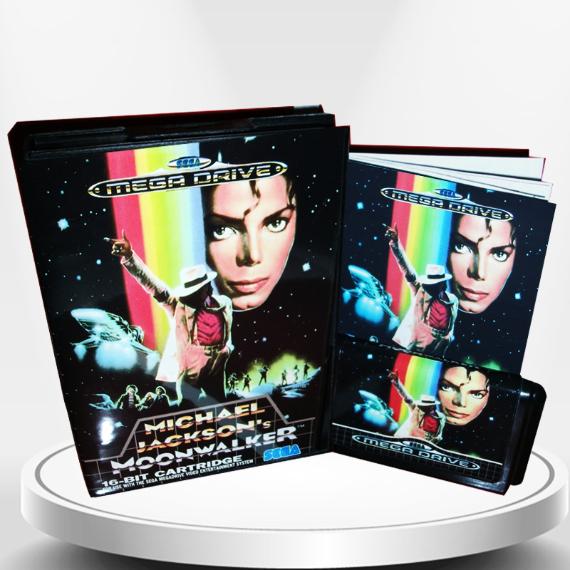 Michael Jacksons Moonwalker EU Cover with Box and Manual for MD MegaDrive Genesis Video Game Console 16 bit MD card