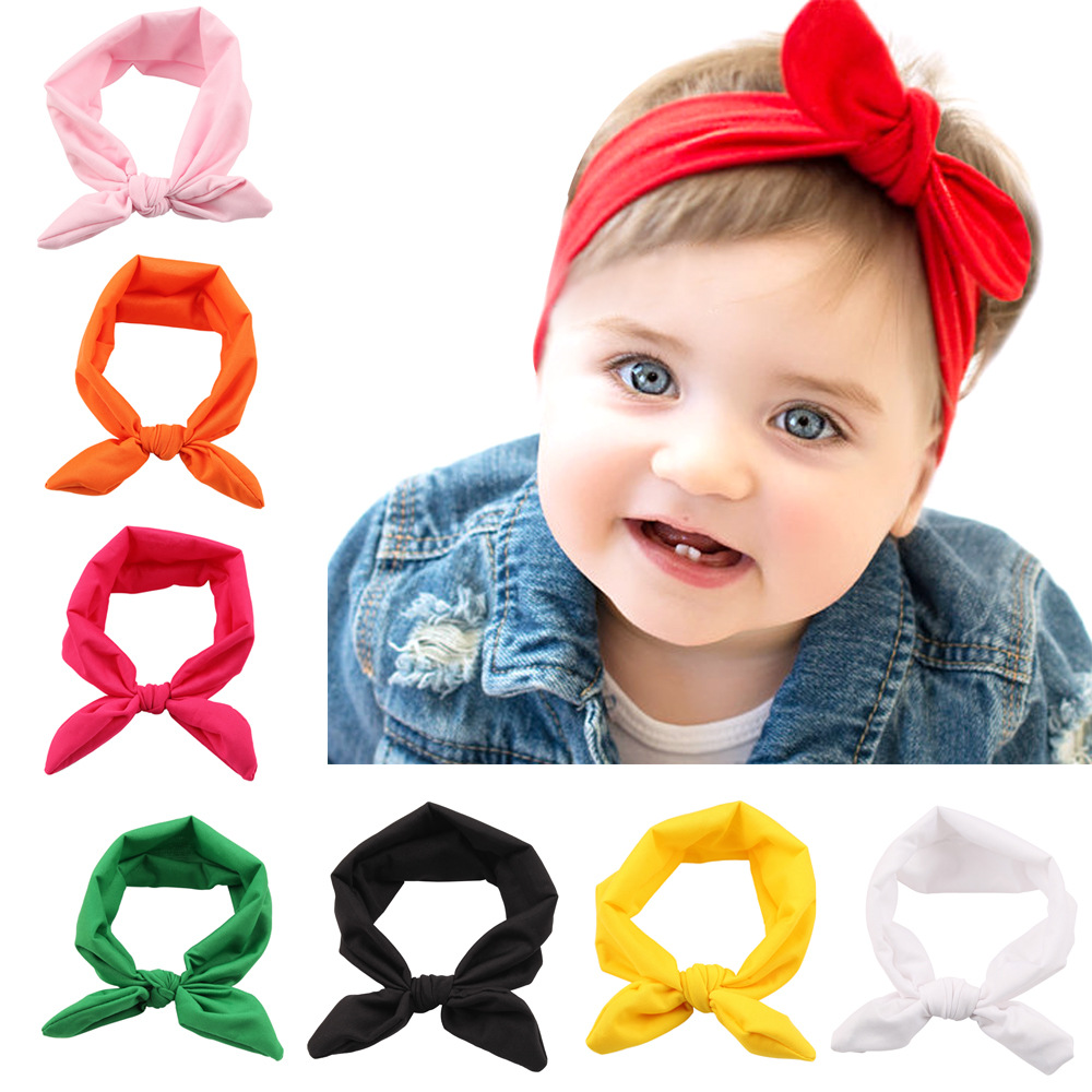 Yundfly Fashion Solid Color Headband Rabbit Ear Bow Newborn Head Bandages Kids Photo Shoot Cute Hair Accessories