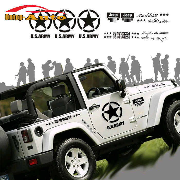 Graphics For Jeep Wrangler: Brothers The U.S Army Star Hood Body Door Sticker Decal