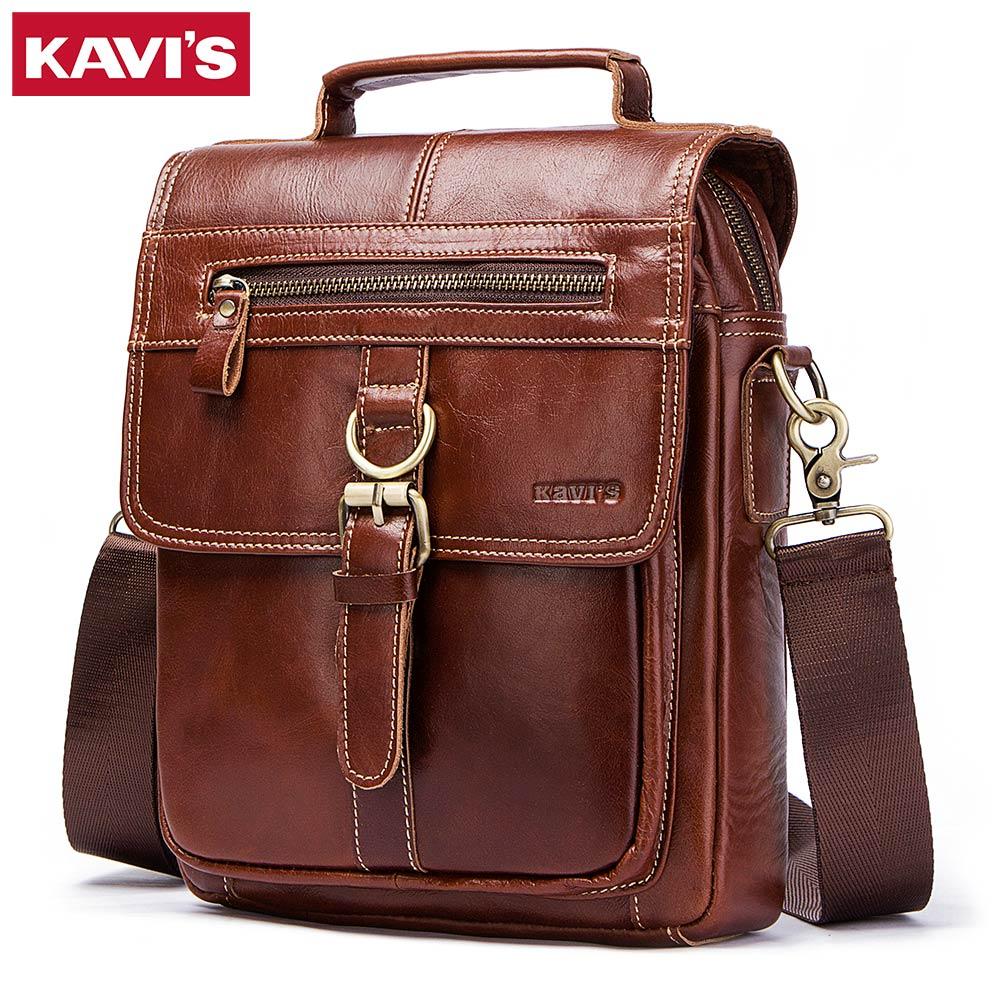 все цены на KAVIS High Quality Real Genuine Leather Messenger Bags Men Handbag Bolsas Travel Brand Sling Crossbody Shoulder Bag For Tas Male онлайн