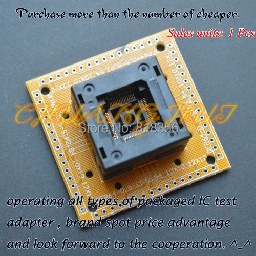 QFP64 LQFP64 TQFP64 IC test socket With terminal board Pitch 0 5 Size 10x10mm 12x12mm
