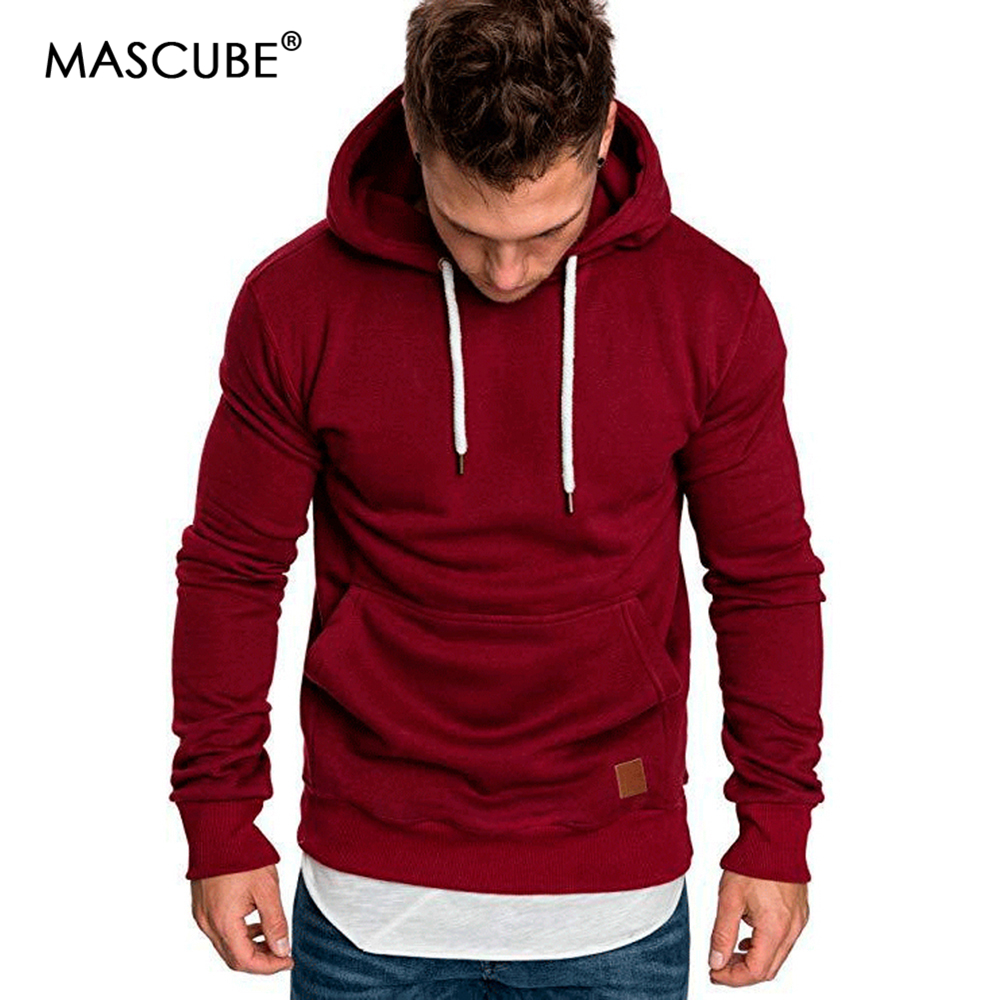 MASCUBE 2019 New Autumn Winter Fashion Color Hoody Male Large Size Warm Fleece Coat Men Brand Sweaters Hooded Sweat Shirts