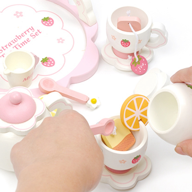 Children 39 S Play House Tea Set Wooden Strawberry Afternoon Tea in Kitchen Toys from Toys amp Hobbies