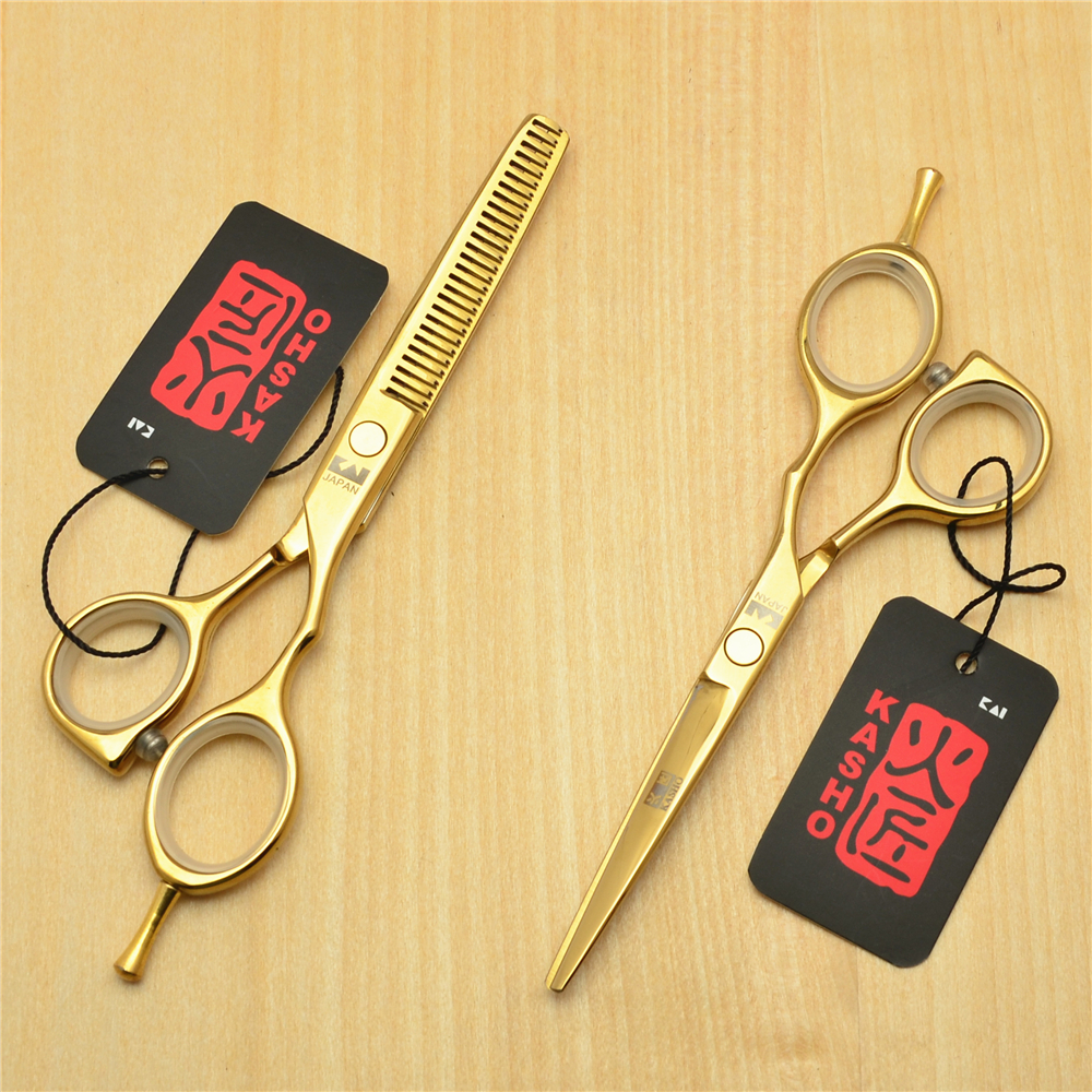 5.5 16cm Japan Kasho 440C Golden Colour Professional Human Hair Scissors Hairdressing Cutting Shears Thinning Scissors H1014