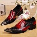 2017 de Lujo Italiana de Cuero Genuino Hombres Zapatos de Los Hombres Punta estrecha Zapatos de Vestir Fiesta de Negocios Formal Oxfords Zapatos hombres Pisos rojo