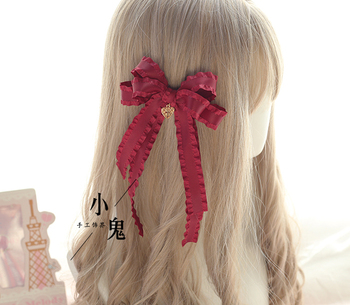 Vintage Dark Girls Gothic Lolita Pearls Bow Black Hat Headband Hair Accessories Headwear Women's Headdress Hair pin 4