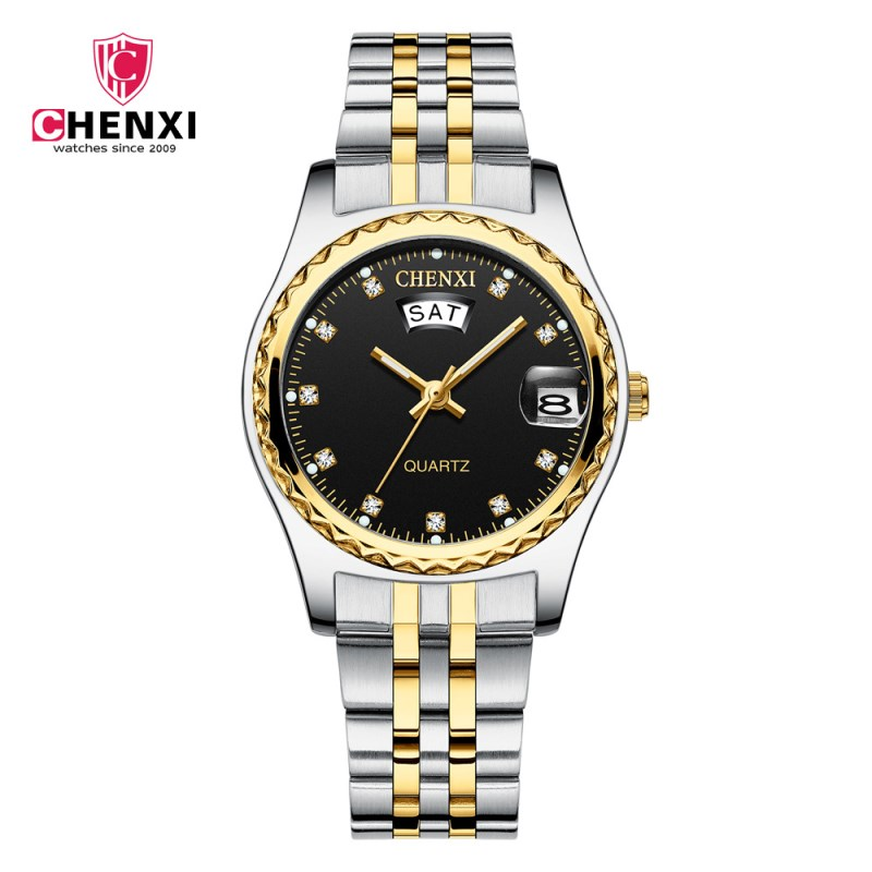Relógios para Mulheres da Marca Relógio de Pulso de Quartzo Senhoras de Aço Relógio à Prova Top de Luxo de Moda Chenxi Feminina Inoxidável Água Relógio Feminino d'