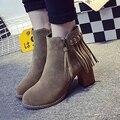 Новый 2016 Женщины Осень Повседневная обувь Кисточкой Бахромой Блок Каблук обувь на Молнии Высокие Каблуки Женщина Мартин Сапоги Botas Zapatos Mujer
