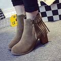 New 2016 Women Autumn Casual shoes Tassel Fringe Block Heel Shoes With Zippers High Heels Woman Martin Boots Botas Zapatos Mujer