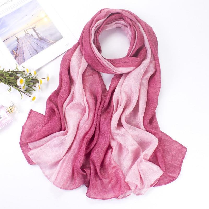 New Linen Long Scarf Sunscreen Beach Towel Shawl Gradient Change Scarf Fashion Simple Light Silky Scarves Wraps Women Decoration