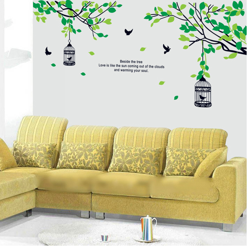 9045 Y Large Trees Branches Birdcage Birds Family Love Wall Decals ...