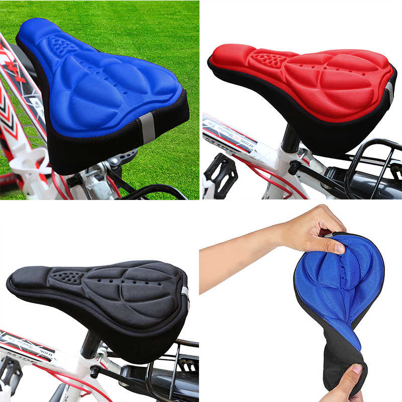 Bike Bicycle Silicone 3D Gel Saddle Seat Cover Pad Padded Soft Cushion Comfort Q