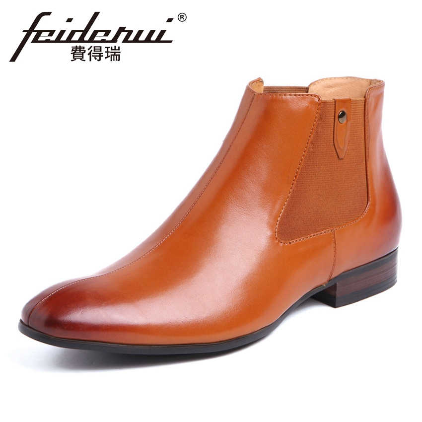 British Designer Genuine Leather Men's Chelsea Ankle Boots Round Toe Handmade Cowboy Man Outdoor Martin Riding Shoes YMX415 new summer designer man handmade breathable chelsea shoes male genuine leather men s round toe cowboy riding ankle boots ss347