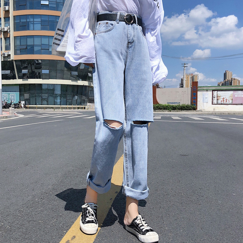 Mihoshop Ulzzang Korean Korea Women Fashion Clothing High Waist Preppy Hole Wide Leg Denim   Jeans   Pants