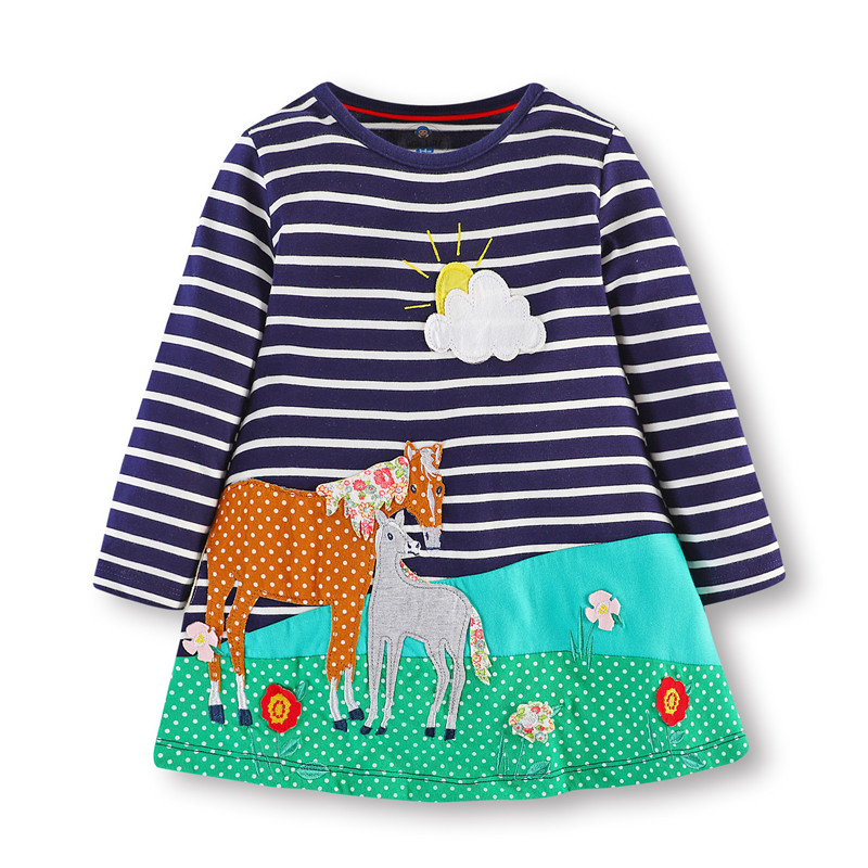 3-8 T Cô Gái Ăn Mặc Hiệu Quần Áo Trẻ Em Dệt Kim cotton thêu ngựa Quần Áo bé gái dài tay áo unicorn Dress cho Giáng Sinh