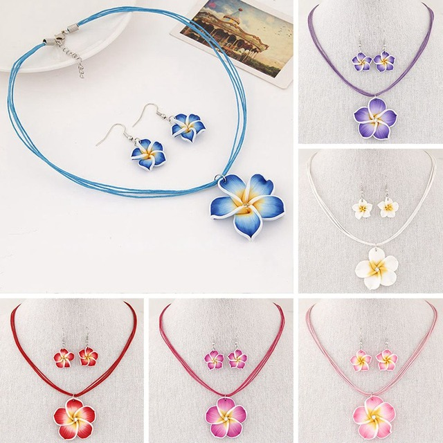 New Korean Fashion Flowers Pendant Jewelry Sets For Women Sweet Trendy Earrings Necklace Pendant Set 6 Colors