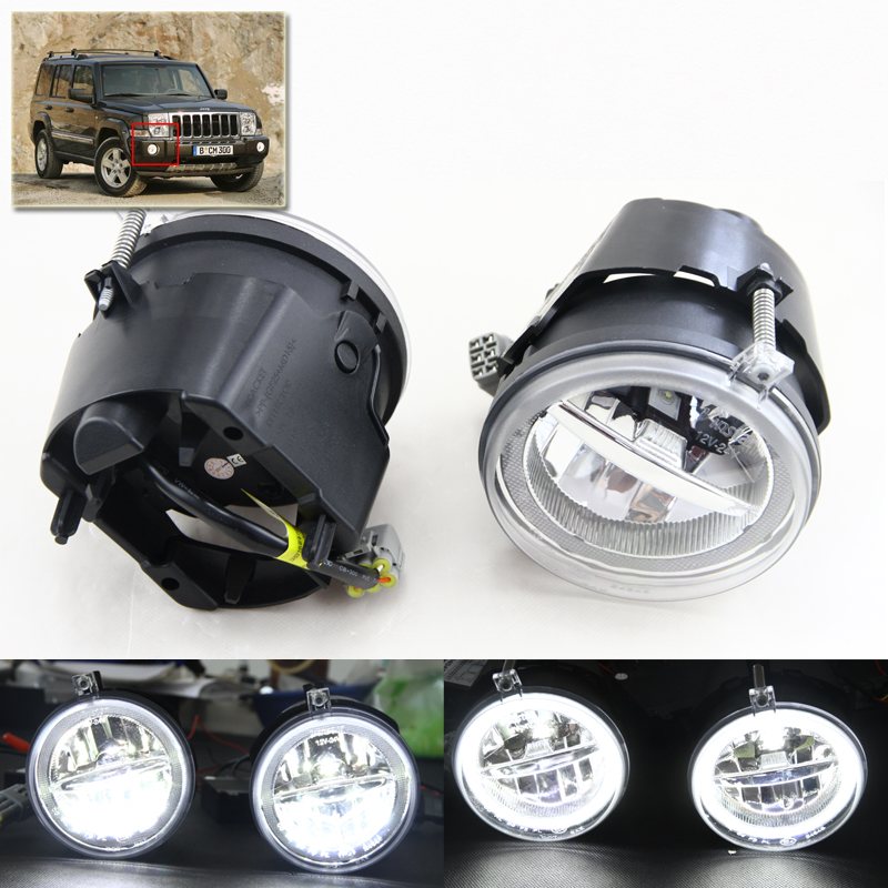 Xenon White Led Fog Light Assembly Kits W DRL Angel Eyes Halo Rings For Jeep Commander