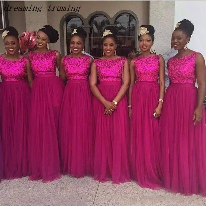 South African Fuchsia Bridesmaid Dresses A Line Sequined Tulle Cheap Plus Size Dubai Maid of Honor Dresses vestido de madrinha