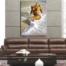 hand painted Mermaid oil painting nude woman canvas wall art high quality naked figure picture for decoration