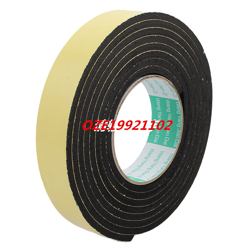 3Meter 30mm x 5mm Single-side Adhesive Shockproof Sponge Foam Tape Yellow Black 1pcs single sided self adhesive shockproof sponge foam tape 2m length 6mm x 80mm