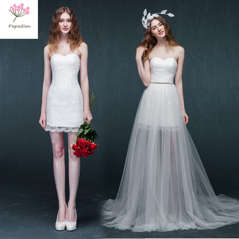 Removable Wedding Gown Dress: Detachable Lace Strapless Short Style Wedding Dress