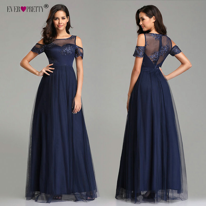 Evening     Dresses   Long Ever Pretty EZ07646NB 2019 Navy Blue Vintage Lace Appliques A-line Tulle Elegant Formal Party   Evening   Gowns