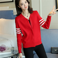 38 Spring New Slim Dress Sweater Sleeve Clip Color Baseball Zipper Cardigan F1773