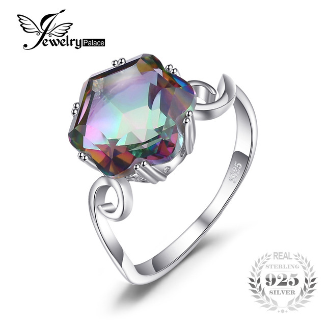 JewelryPalace 3.2ct Genuine Rainbow Fire Mystic Topaz Ring Solid 925 Sterling Si