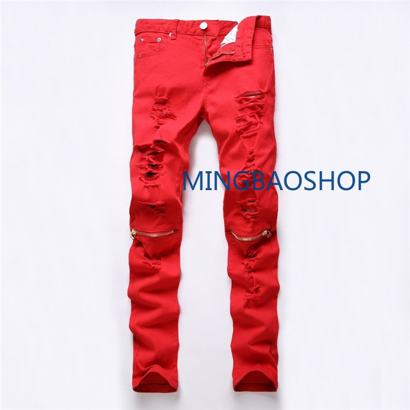 New men's jeans slimming small feet hole zipper elastic trousers designer jeans men high quality clothes skinny jeans men 2019