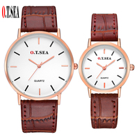 New O T SEA Brand Leather Pair Watches Women Men Lovers Fashion Casual Quartz Wristwatches Clock