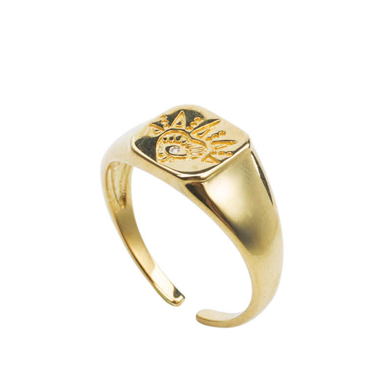 Silvology 925 Sterling Silver Eye Sun Flower Rings Gold Round Square Creative Luxurious Female Rings 2019 Workplace Jewelry Gift