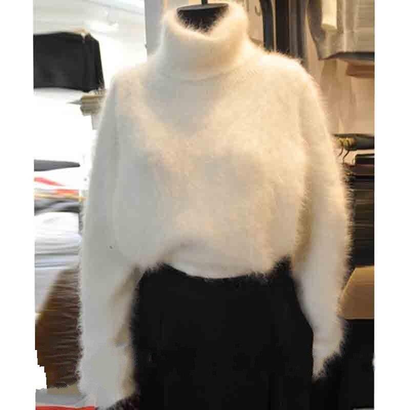 Turtleneck Pullover Sweate Mohair Autumn Winter Women New Velvet Mink 9SW0049 Lazy-Wind