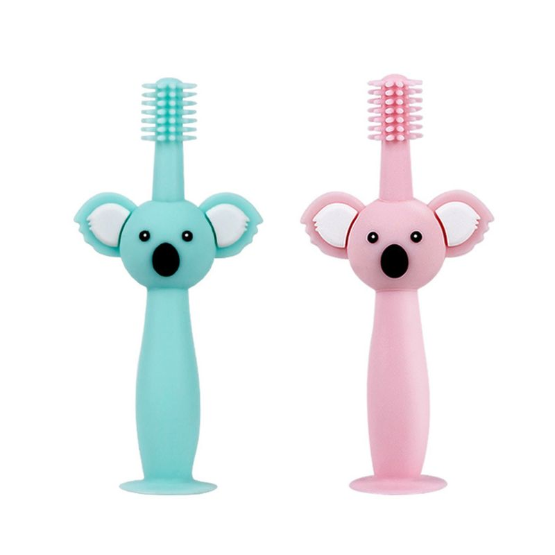 360 degree children's toothbrush Infant Training Safe Design Soft Healthy Silicone Brushing Teeth image