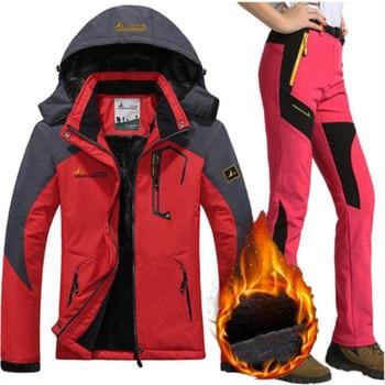 Aufdiazy Waterproof Ski Suit Women Jacket Ski Pants Female Winter Outdoor Skiing Snow Snowboard Fleece Jacket Pants Sets IM033
