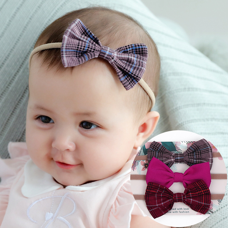 Baby Girls Turban Autumn Plaid Cloth Big Bow with Elastic Nylon Head Bands Infant Toddler Hair Accessories Kids Bow Headwear