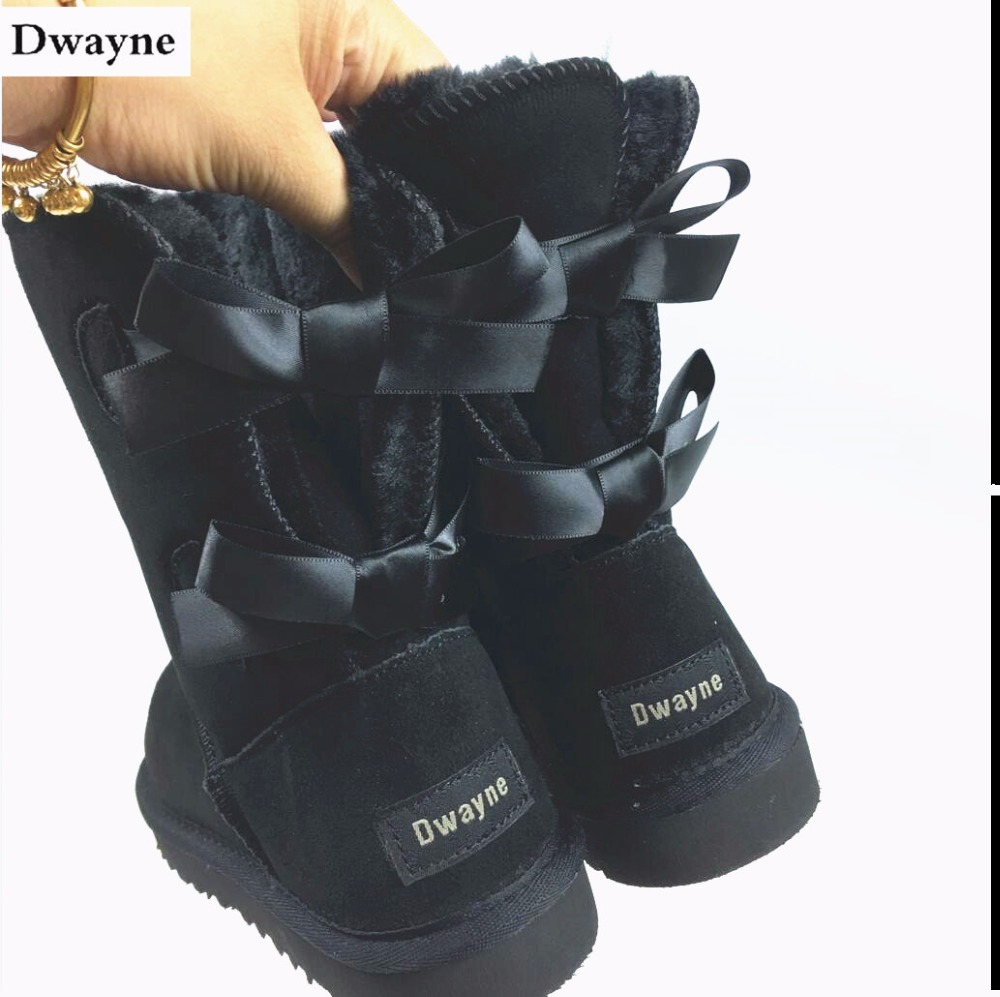 Free Shipping New Arrival 100% Real Fur Classic Mujer Botas Waterproof Genuine Cowhide Leather Snow Boots Winter Shoes for Women цены онлайн
